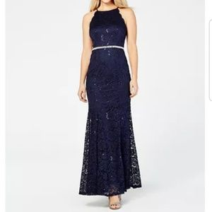 BCX Rhinestone Sequined Lace Gown - Navy Blue